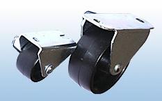 Колесные опоры неповоротнные мебельные, полипропиленовый ролик, платформенное крепление