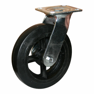 Колесные опоры поворотные большегрузные серия SCd литая черная резина, чугунный обод
