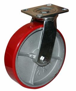 Колесные опоры поворотные большегрузные серия SCp полиуретановый контактный слой, чугунный обод