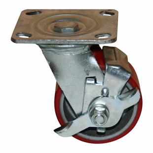 Колесные опоры поворотные большегрузные серия SCpb с тормозом, полиуретановый контактный слой, чугунный обод