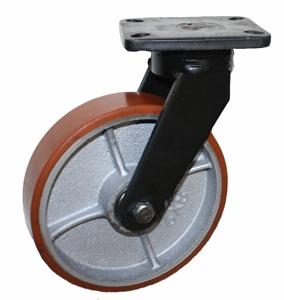 Колесные опоры поворотные большегрузные серия SCpx c увеличенной нагрузкой, полиуретановый контактный слой, чугунный обод