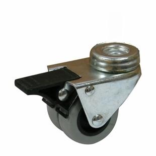 Колесные опоры поворотные мебельные крепление под болт серия SChndb с тормозом (двойной нейлоновый ролик)