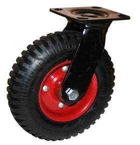 Колесные опоры поворотные большегрузные серия PRS литая протекторная резина, штампованный стальной обод