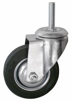 Колесо с болтовым креплением поворотное серия SCt полуэластичная черная резина