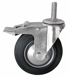 Колесо с болтовым креплением поворотное серия SCtb с тормозом, полуэластичная черная резина