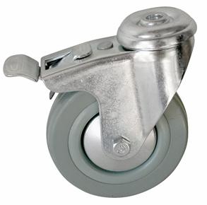 Колесо с креплением под болт поворотное серия SChgb с тормозом, серая резина
