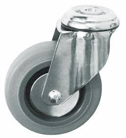 Колесо с креплением под болт поворотное серия SChg термопластическая серая резина