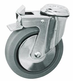 Колесо с креплением под болт поворотное серия SChgb с тормозом, термопластическая серая резина