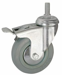 Колесо с болтовым креплением поворотное серия SCtgb с тормозом, серая резина, полипропиленовый обод