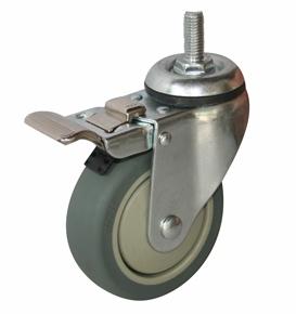 Колесо с болтовым креплением поворотное серия SCtkb с тормозом, термопластическая серая резина